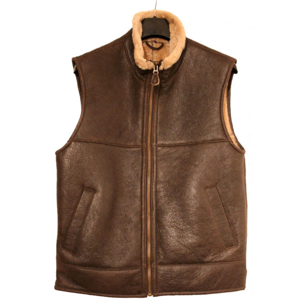 Men S Aviator B3 Ginger Shearling Sheepskin Gilet Leather Bomber Flying Jacket Mart Stitch